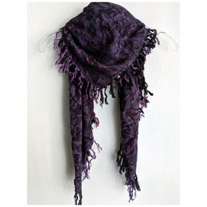 Blackened Purple Fringed Patterned Scarf/Wrap